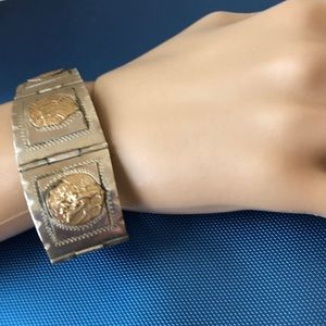 Jewelry - Taxco Mexico sterling silver bracelet gold panels